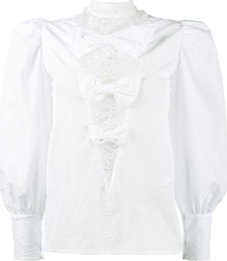 Alessandra Rich crinkled-taffeta blouse with lace inserts