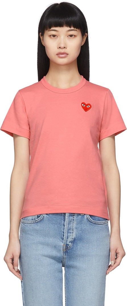Comme Des Garcons PLAY Pink & Red Small Heart T-Shirt