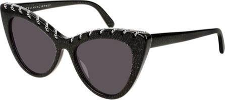 Stella McCartney Glittered Acetate Cat-Eye Sunglasses w/ Woven Chain Detail