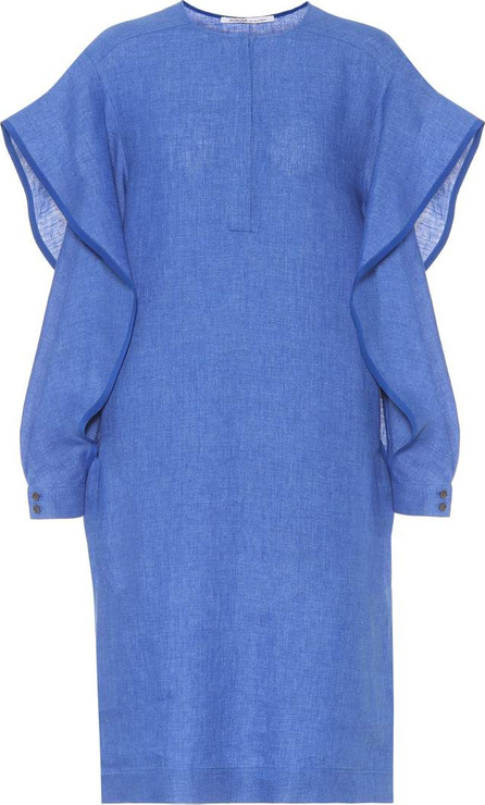 Agnona Linen ruffled split-sleeve dress