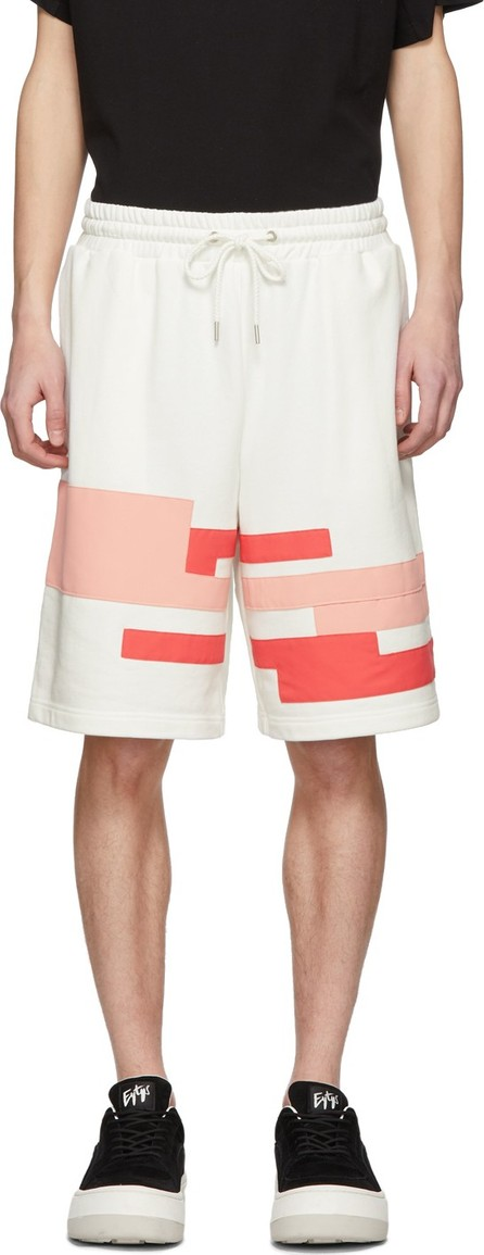 Feng Chen Wang White & Pink Distorted Stripe Shorts