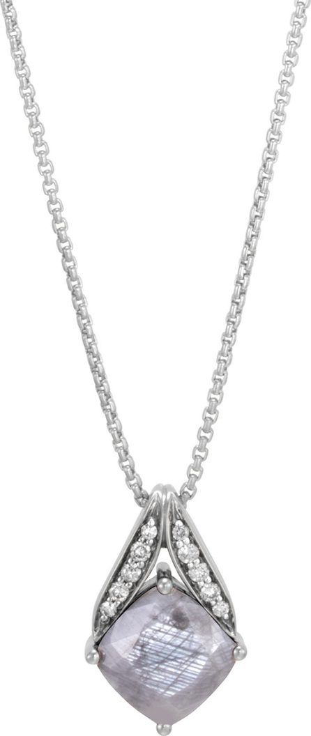 John Hardy Modern Chain Silver Pave Magic Cut Pendant Necklace in  Silver Sheen Sapphire