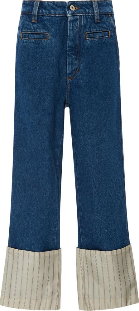 LOEWE Striped Poplin-Paneled High-Rise Straight-Leg Jeans