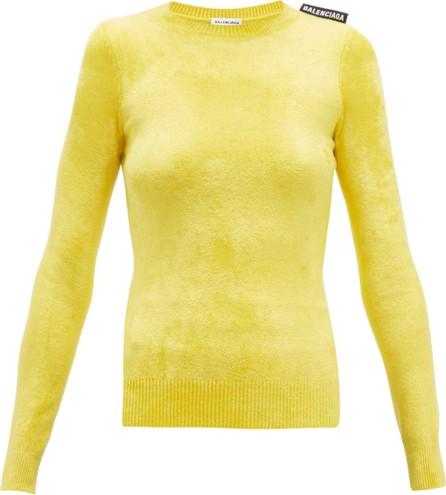Balenciaga Logo-tab velvet sweater