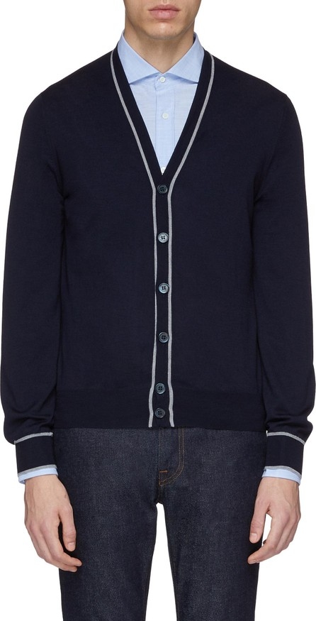 Brunello Cucinelli Stripe border virgin wool-cashmere cardigan