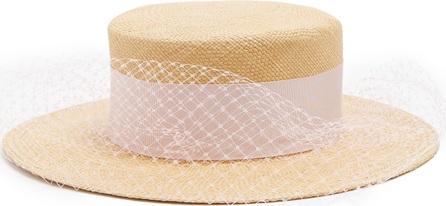 Federica Moretti Veil-embellished panama straw hat