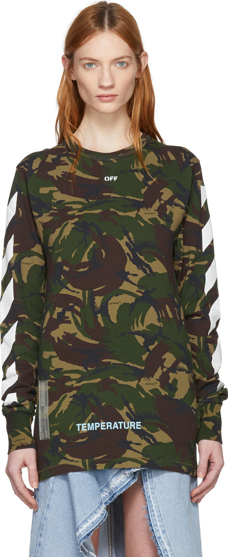 Off White Green Camouflage Diagonal T-Shirt