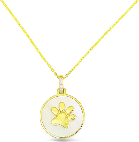 Frederic Sage 18k Gold Slanted Paw & Mother-of-Pearl Pendant Necklace