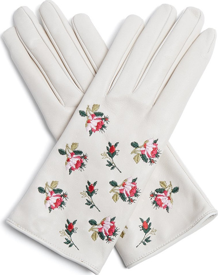 Gucci Floral-embroidered leather gloves