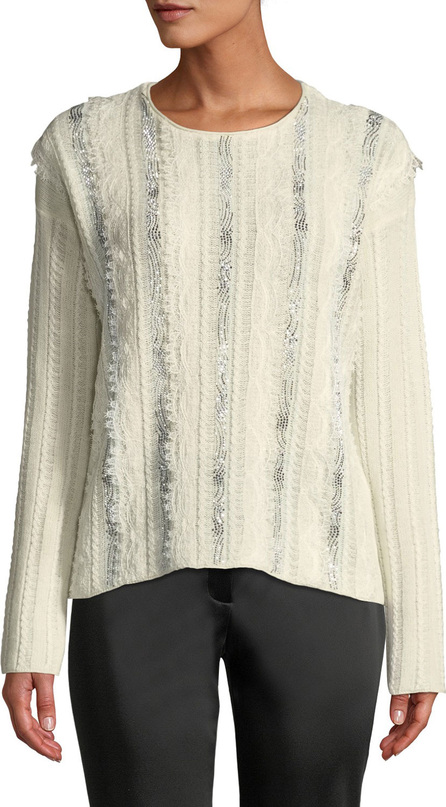Ermanno Scervino Crewneck Long-Sleeve Embroidered Lace Sweater