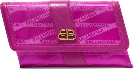 Balenciaga Shift leather-trimmed jacquard shoulder bag