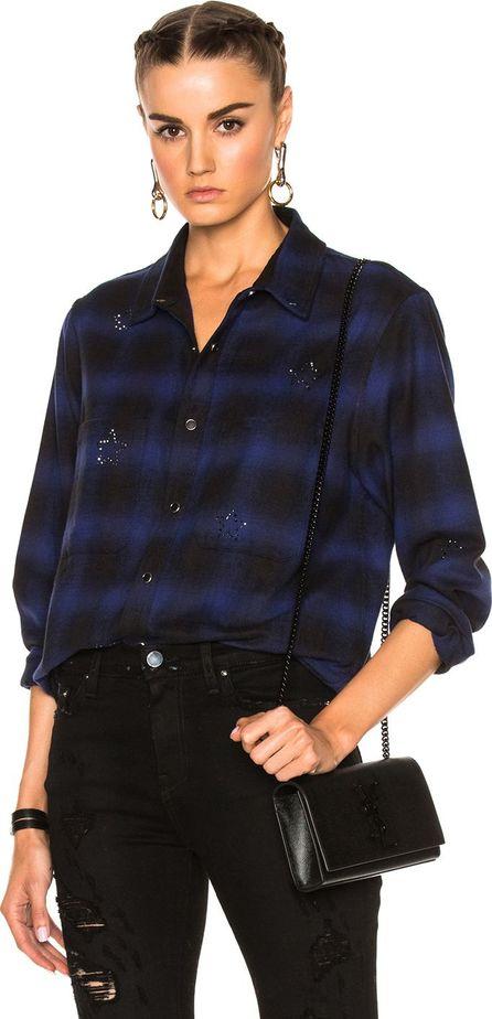 Amiri Crystal Plaid Flannel Top