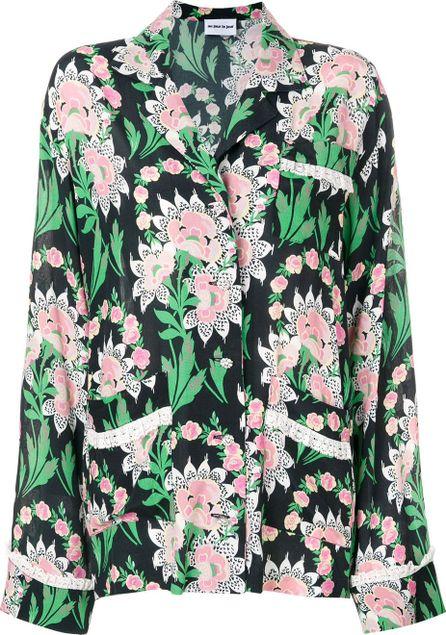Au Jour Le Jour lace trim floral shirt