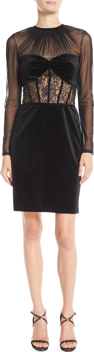 Tadashi Shoji Long-Sleeve Velvet & Lace Corset Dress