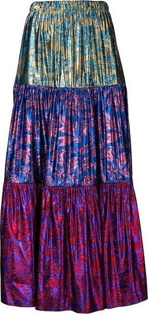 Gucci High Waisted Tiered Lurex Midi Skirt