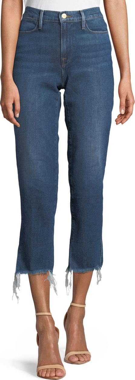 FRAME DENIM Le High Straight-Leg Frayed-Hem Jeans