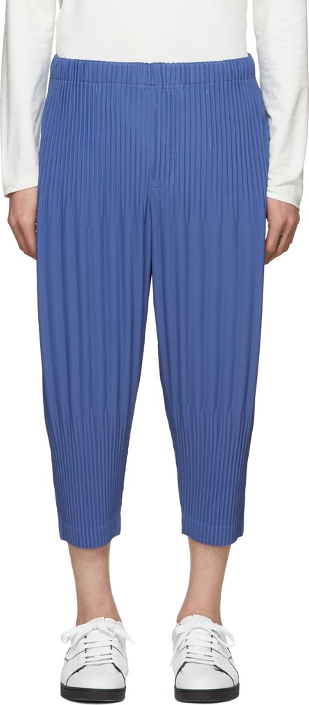 Homme Plissé Issey Miyake Blue Pleated Wide Trousers