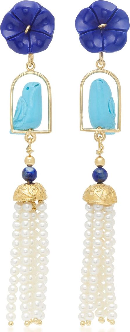 Of Rare Origin Swingers 18K Yellow Gold Vermeil, Lapis, Turquoise and Pearl Earrings