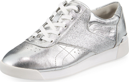 MICHAEL MICHAEL KORS Addie Metallic Lace-Up Sneaker, Silver