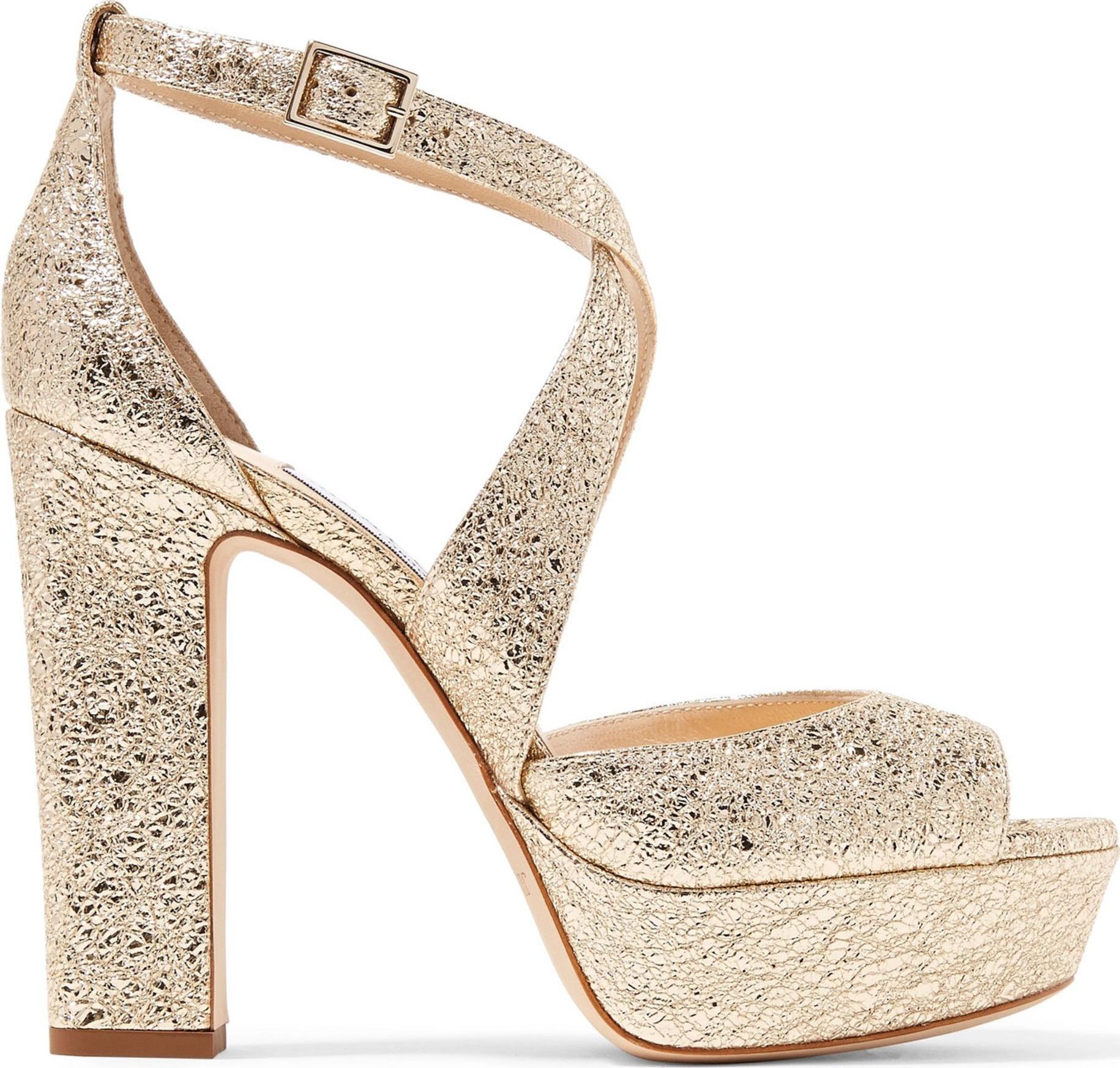 Jimmy Choo - April 120 metallic cracked-leather platform sandals