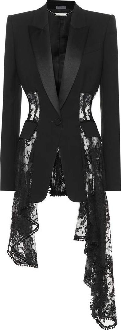 Alexander McQueen Lace trim wool and silk-blend jacket