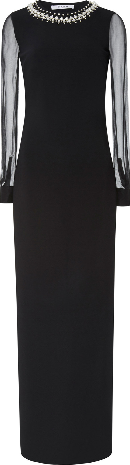 Givenchy Embellished Tulle-Paneled Crepe Gown