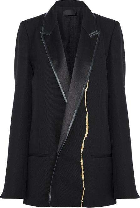 Haider Ackermann Satin-trimmed metallic embroidered wool blazer