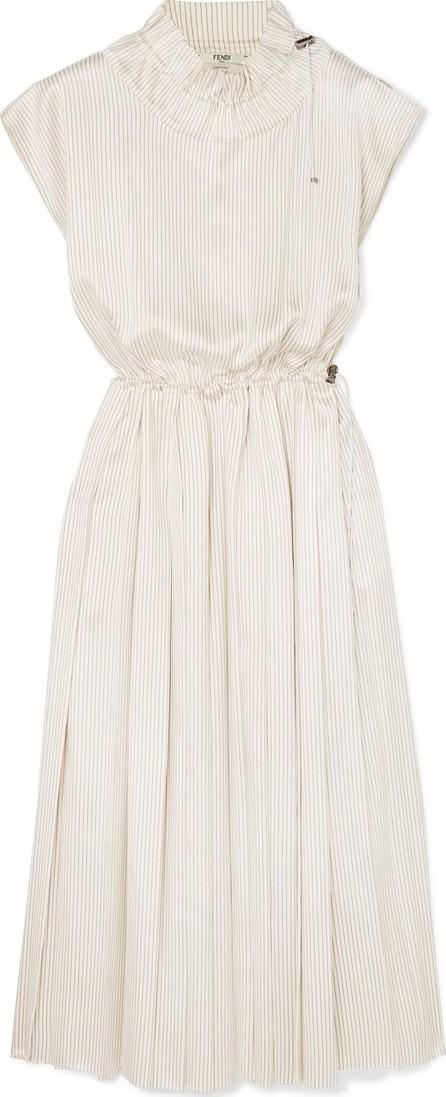 Fendi Pleated striped silk midi dress