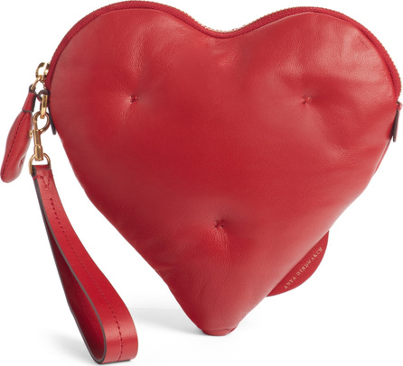 Anya Hindmarch Chubby Heart Leather Clutch