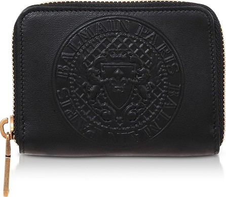 Balmain Signature Black Leather Coin Purse