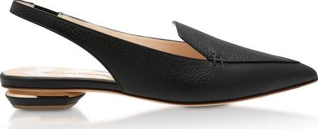 Nicholas Kirkwood Black Grainy Leather 18mm Beya SlingBack Ballerinas
