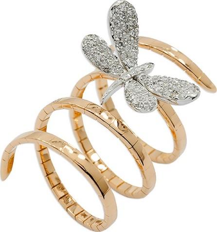 Staurino Fratelli 18k Rose Gold Magic Snake Spiral Flex Ring with Diamond Dragonfly, Size 7