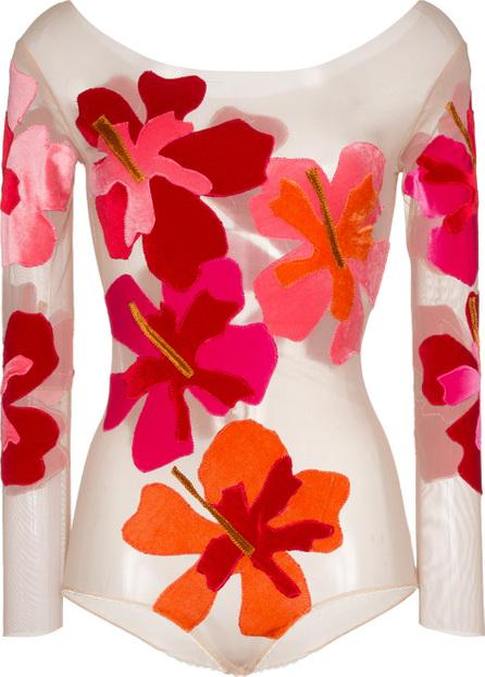 Alexia Hentsch Silk Flower Applique Bodysuit