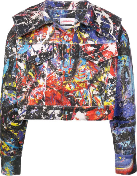 Charles Jeffrey Loverboy Caped painted denim jacket