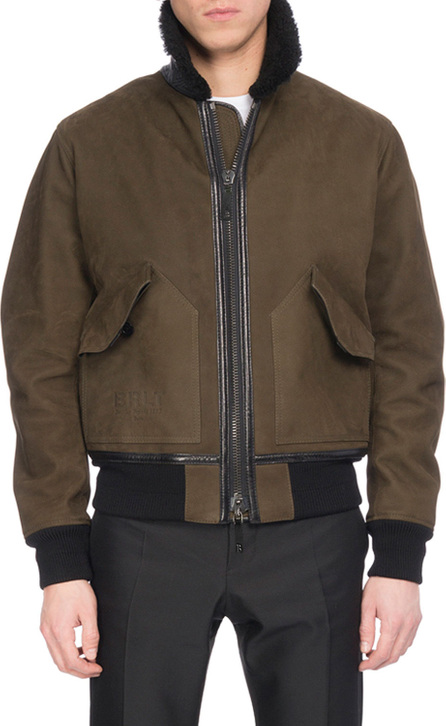 Berluti Leather Bomber Jacket with Shearling Fur Collar