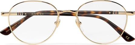 Gucci Round-Frame Gold-Tone and Tortoiseshell Acetate Optical Glasses