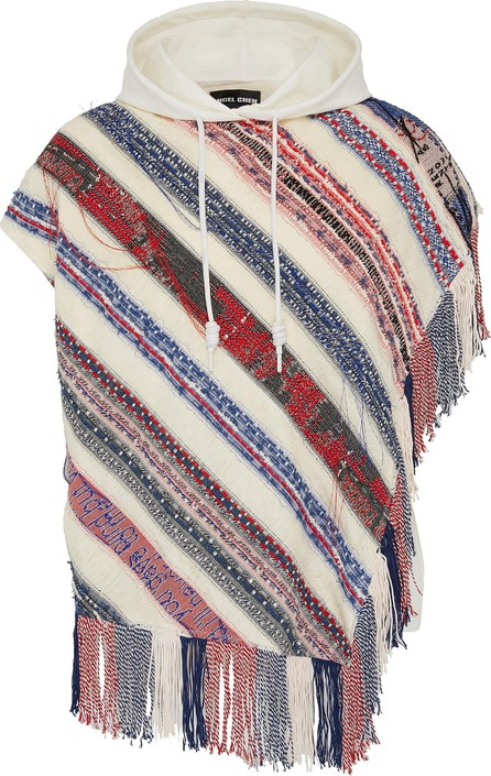 Angel Chen Fringe patchwork stripe unisex short sleeve hoodie