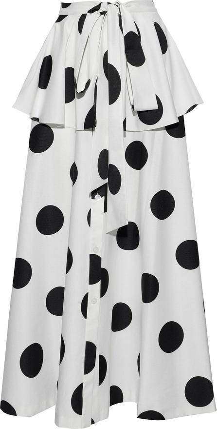 Sachin & Babi Kaylyn tie-front polka-dot faille peplum maxi skirt