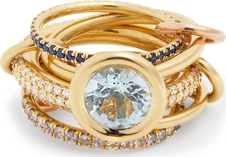 Spinelli Kilcollin Rana diamond, yellow-gold & rose-gold rings