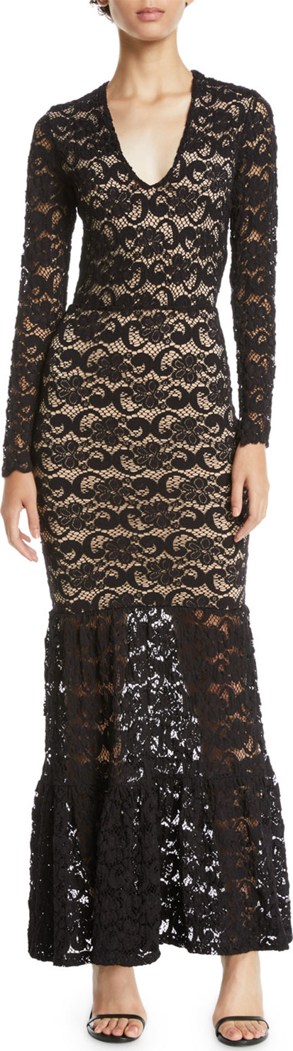 Nightcap Clothing Dixie Lace Long-Sleeve Martini Gown