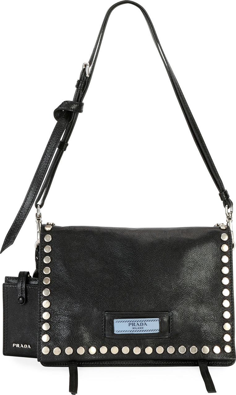 408a868b1fbc Prada Small Studded Glace Calf Etiquette Shoulder Bag - Mkt