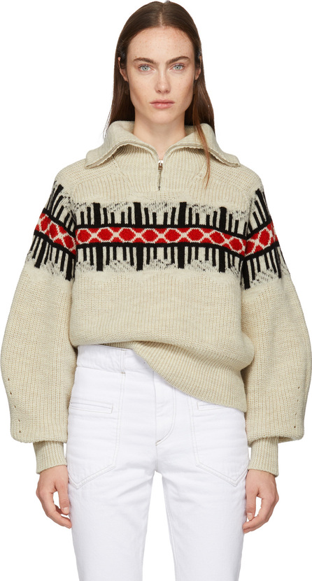 Isabel Marant White Curtis Graphic Knit Zip-Up Sweater