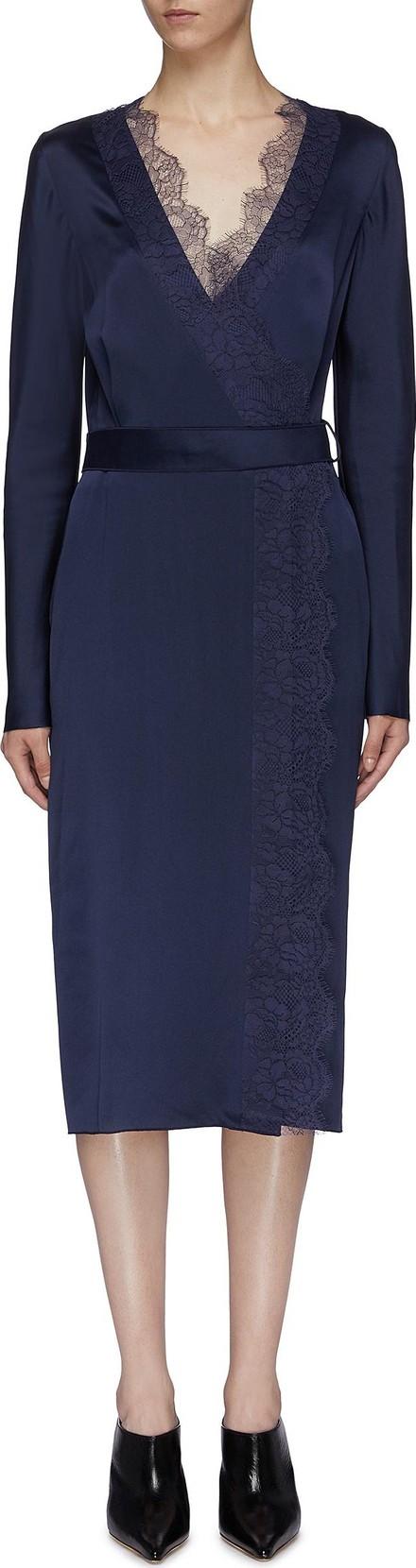 Dion Lee Lace trim silk satin wrap dress