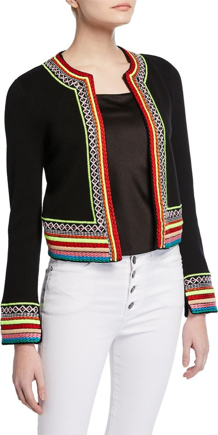 Alice + Olivia Meemee Embroidered Open-Front Cardigan
