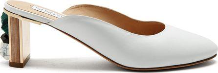 Gabriela Hearst Lange round toe stone-embellished leather mules