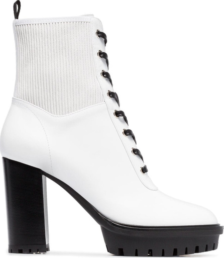 Gianvito Rossi White 70 laceup leather boots