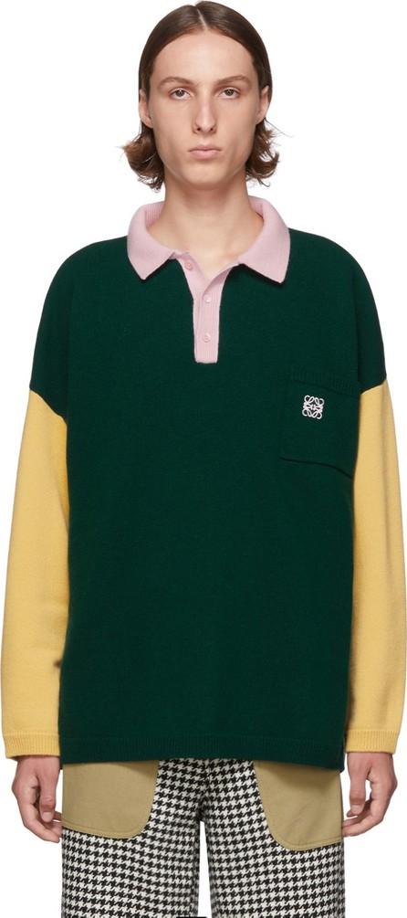 LOEWE Green & Pink Poloneck Sweater