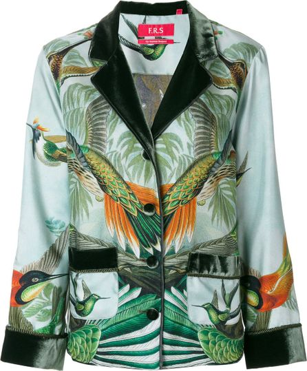 F.R.S For Restless Sleepers forest and bird print blazer