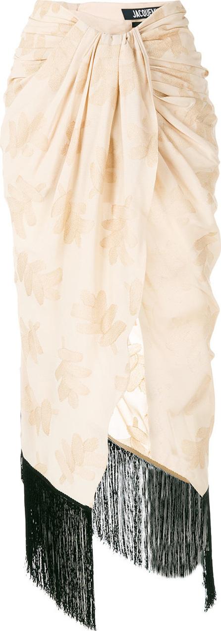 Jacquemus Asymmetric draped fringed skirt