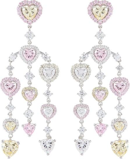 Anabela Chan 'Heart Chandelier' diamond gemstone drop earrings